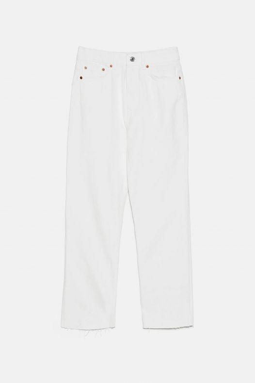 Quần Jean Nữ Zara Ankle Straight White