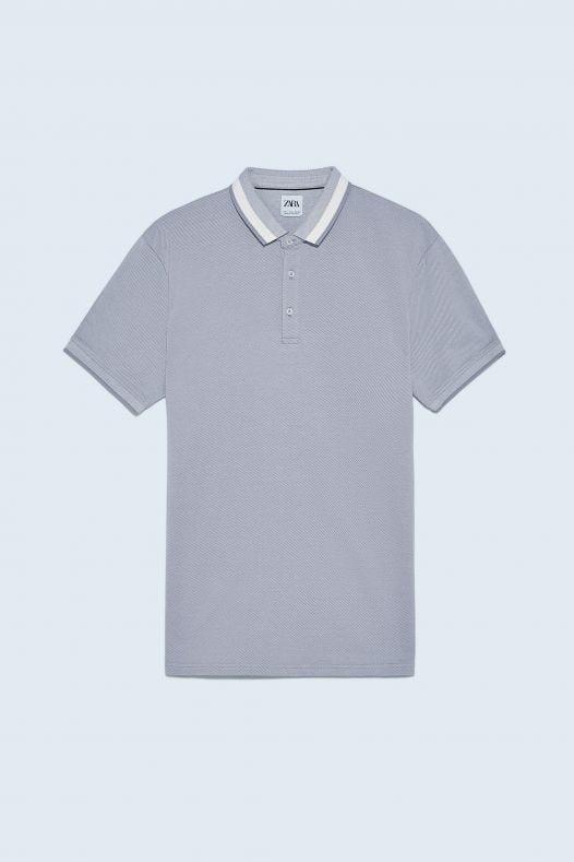 Áo Polo Nam Zara Mercerised Cotton Jacquard Grey