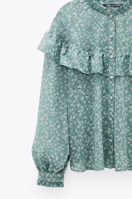 Áo Sơ Mi Nữ Zara Ruffled Printed Blouse Sea Green