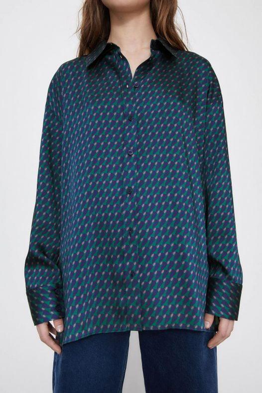 Áo Sơ Mi Nữ Zara Geometric Print Shirt