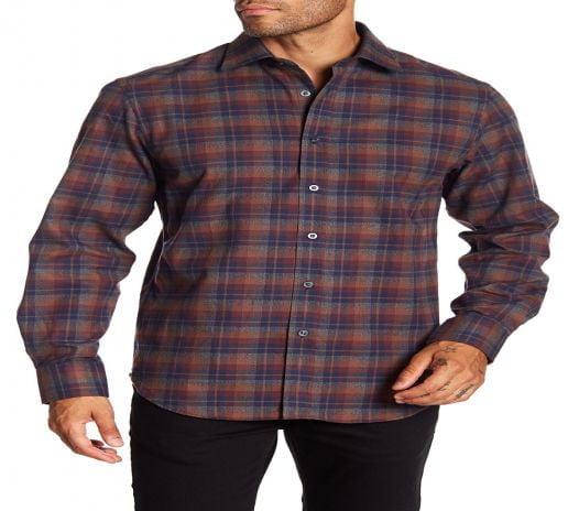 Áo Sơ Mi Nam James Tattersall Plaid Long Sleeve Classic Fit Shirt Rust