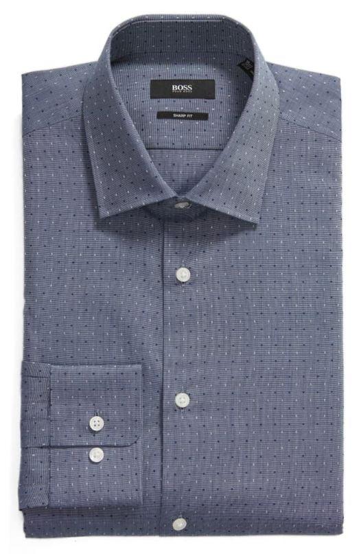 Áo Sơ Mi Nam Hugo Boss Sharp Slim Fit Dot Dress Shirt Navy