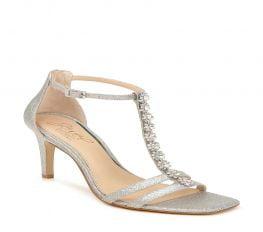 Sandal Nữ Badgley Mischka Farida Crystal Embellished T-Strap Sandal Silver Glitter