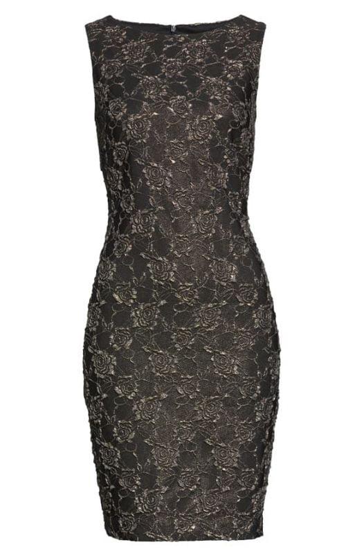 Đầm Nữ Donna Ricco Floral Embossed Sheath Dress Black Gold