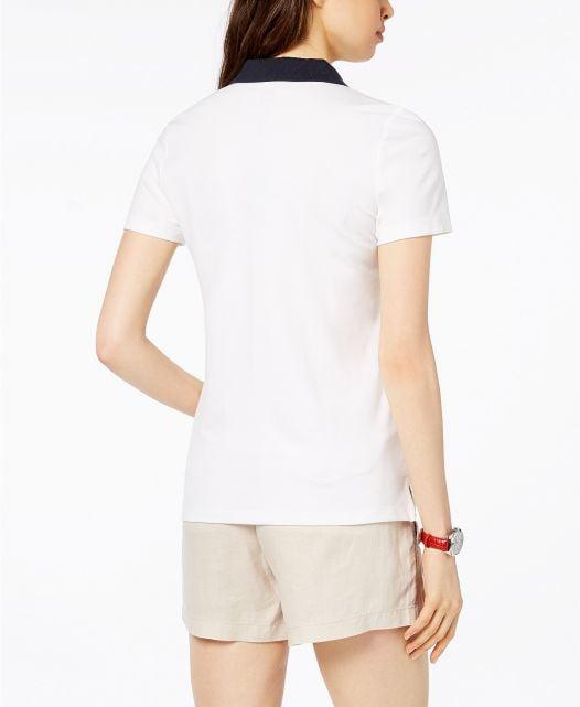 Áo Polo Nữ Tommy Hilfiger Striped Short-Sleeve White Combo Flag Stripe