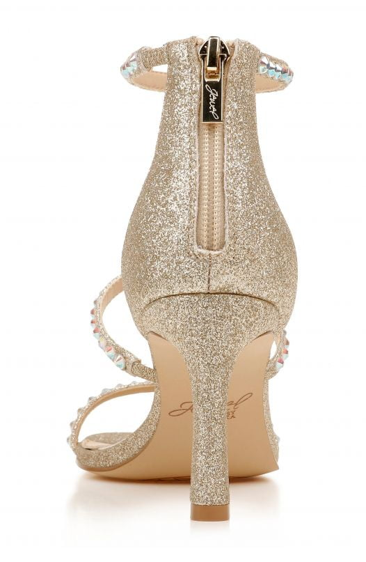 Sandal Nữ Badgley Mischka Ellis Embellished Ankle Strap Sandal Light Gold