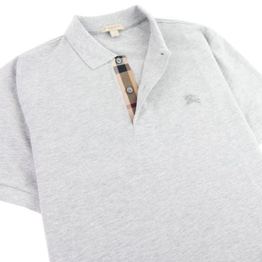Áo Polo Nam Burberry Oxford Check Placket Cotton Grey