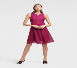 Đầm Nữ DKNY Mesh Fit And Flare Dress Berry