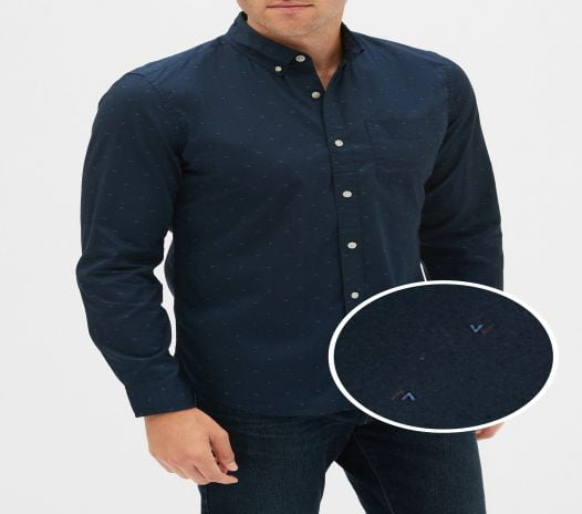 Áo Sơ Mi Nam Gap Poplin Shirt In Slim Fit Navy Print
