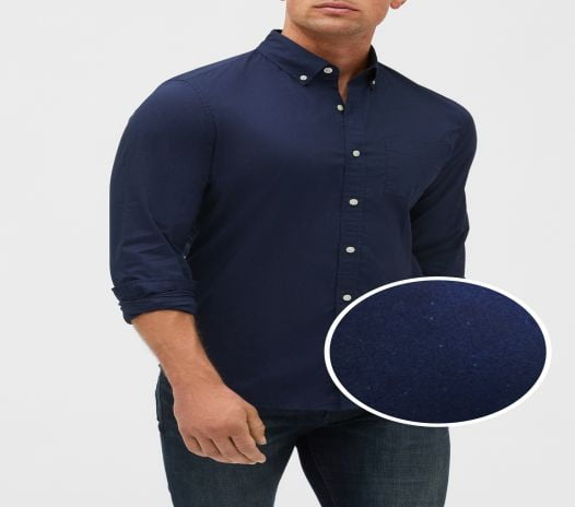 Áo Sơ Mi Nam Gap Poplin Shirt In Standard Fit Blue Navy Dot