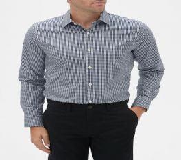 Áo Sơ Mi Nam Gap Stretch Poplin Shirt Indigo Gingham