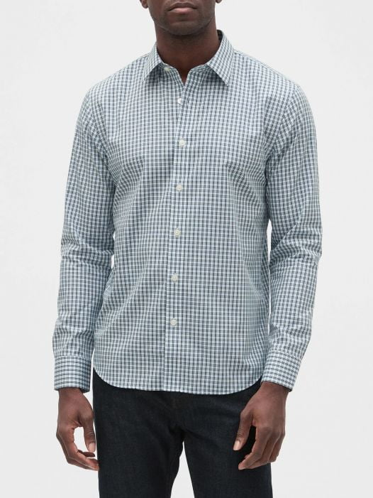 Áo Sơ Mi Nam Banana Republic Slim-Fit Untucked Non-Iron Shirt Blue Ravine Check