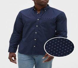 Áo Sơ Mi Nam Gap Poplin Long Sleeve Shirt In Standard Fit Spring Blue Dots