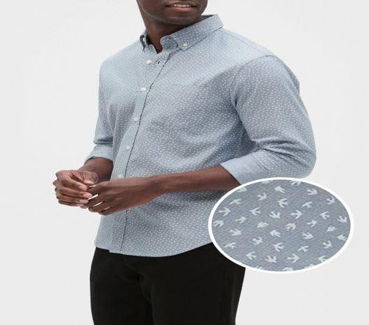 Áo Sơ Mi Nam Banana Republic Slim-Fit Untucked Oxford Yarn-Dye Shirt Bird Print