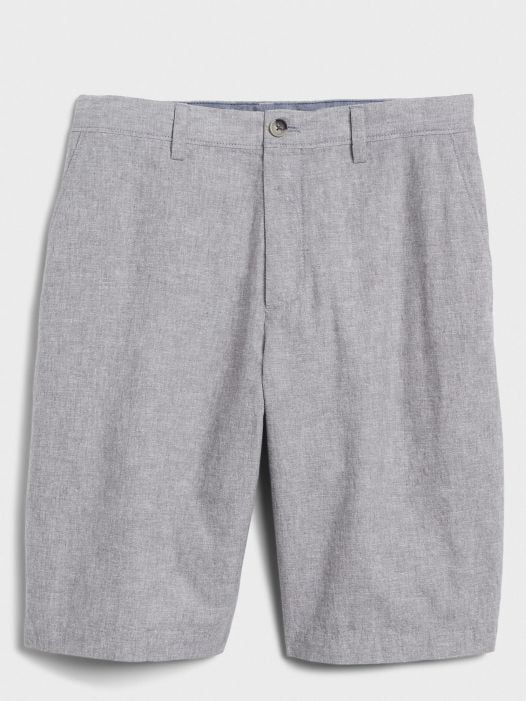 Quần Short Nam Banana Republic 11 Emerson Straight-Fit Linen Shorts Mesa Grey