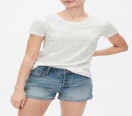 Áo Thun Nữ Gap Favorite Crewneck T-Shirt - Milk Foil Stars