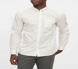 Áo Sơ Mi Nam Gap Poplin Shirt in Slim Fit White Dot