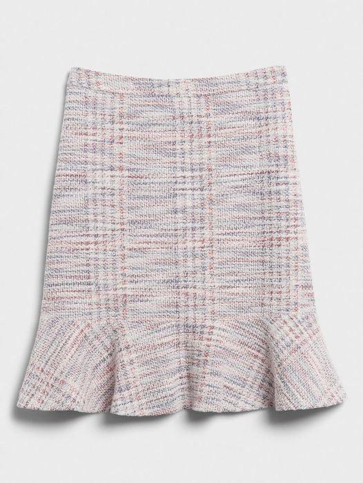 Váy Nữ Banana Republic Tweed Flounce Hem Fit-and-Flare Skirt Off White Multi