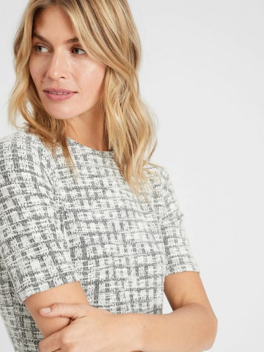 Đầm Nữ Banana Republic Knit Tweed Boucle Sheath Dress White