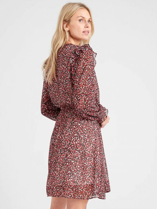 Đầm Nữ Banana Republic Ruffle-Sleeve Fit-and-Flare Dress Red & Off White