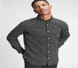 Áo Sơ Mi Nam Gap Poplin Shirt in Standard Fit Black Dot Print