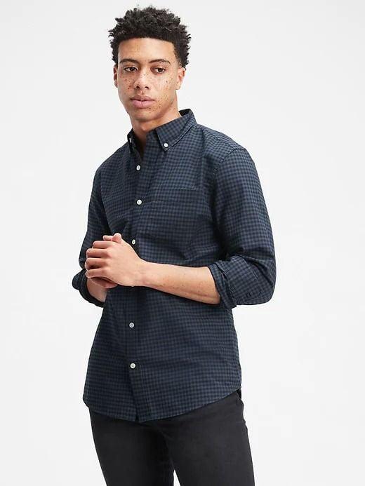 Áo Sơ Mi Nam Gap Oxford Shirt in Slim Fit Navy Gingham