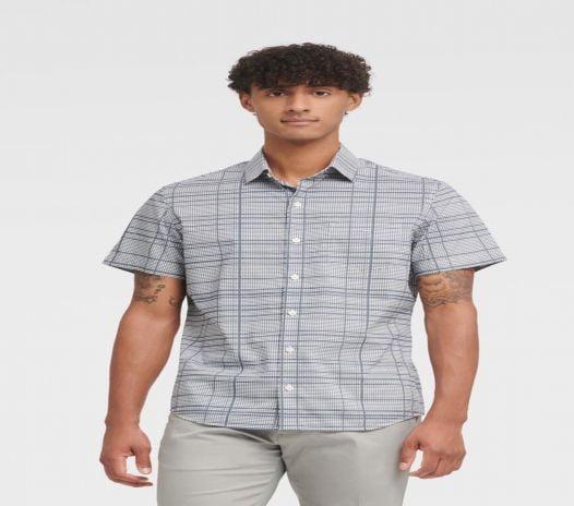 Áo Sơ Mi Nam DKNY Printed Short Sleeve French Placket Shirt Standard White