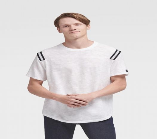 Áo Thun Nam DKNY Shoulder Stripe Tee With Curved Hem White