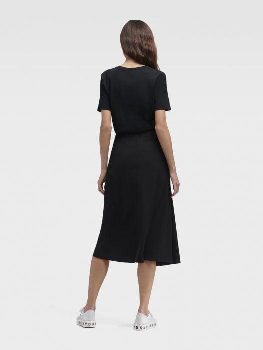 Váy Nữ DKNY Draped Midi Skirt Black