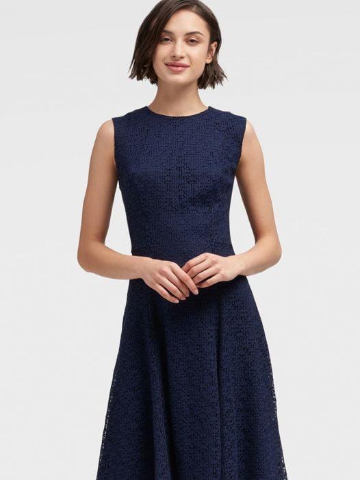 Đầm Nữ DKNY Lace Dress With Handkerchief Hem Midnight