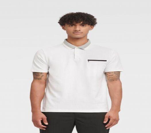 Áo Polo Nam DKNY Interlock Short Sleeve Polo Standard White