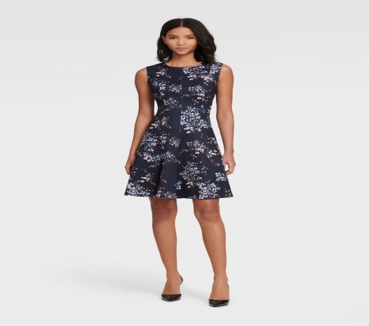 Đầm Nữ DKNY Sleeveless Floral Fit And Flare Dress Midnight Multi