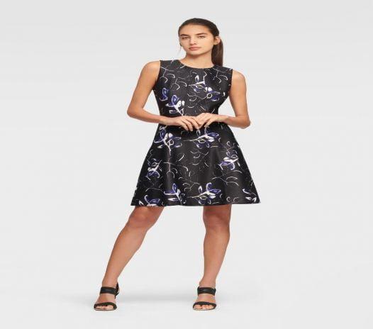 Đầm Nữ DKNY Sleeveless Fit And Flare Dress Black & Blueberry
