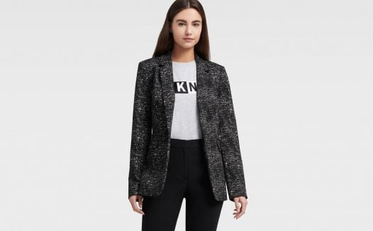 Áo Khoác Nữ DKNY Single Button Knit Jacquard Blazer - Black