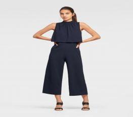 Jumpsuit Nữ DKNY Sleeveless High Neck Popover Jumpsuit Navy