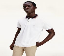Áo Polo Nam Tommy Hilfiger Regular Fit Tipped Pique Polo White