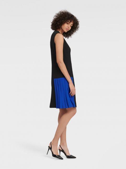 Đầm Nữ DKNY Sleeveless Colorblock Dress Black & Electric Blue