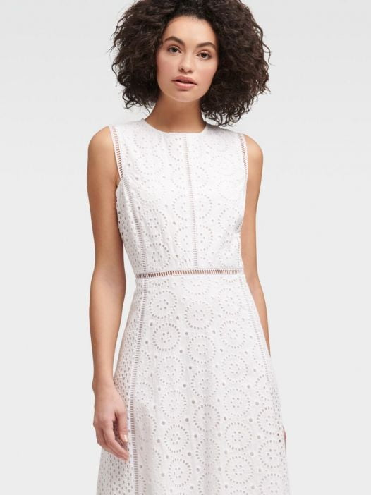 Đầm Nữ DKNY Sleeveless Eyelet Dress White