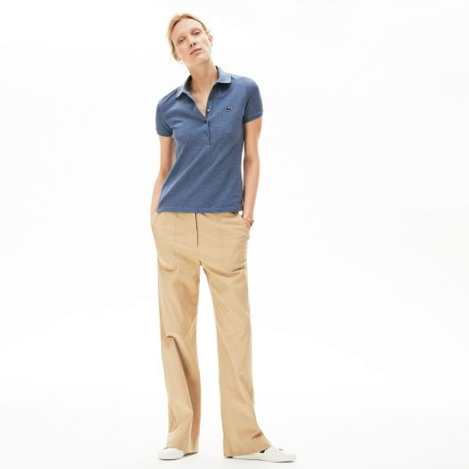 Áo Polo Nữ Lacoste Piqué Slim Fit Blue Chine