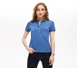 Áo Polo Nữ Lacoste Piqué Slim Fit Blue