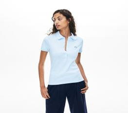 Áo Polo Nữ Lacoste Piqué Slim Fit Light Blue