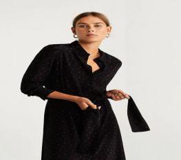 Đầm Nữ Mango Polka Dots Shirt Dress Black