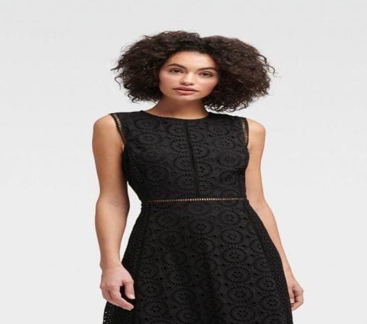 Đầm Nữ DKNY Sleeveless Eyelet Dress Black