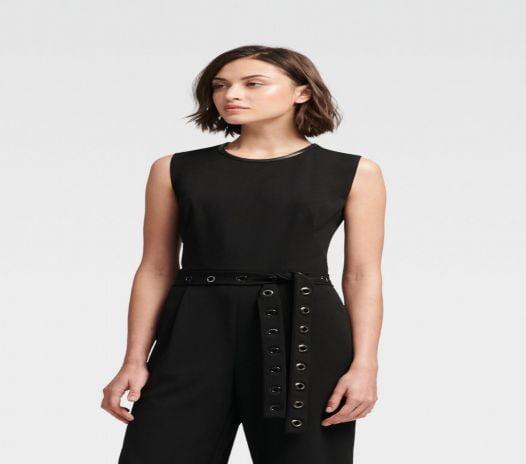 Jumpsuit Nữ DKNY Wide Leg Jumpsuit With Grommet Tie Black