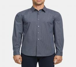 Áo Sơ Mi Nam Theory Standard-Fit Shirt in Dashed Print Cotton Space Multi