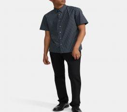 Áo Sơ Mi Nam Theory Standard-Fit Short-Sleeve Shirt in Printed Stretch Cotton Eclipse Multi