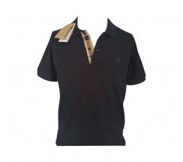 Áo Polo Nam Burberry Oxford Check Placket Cotton Navy